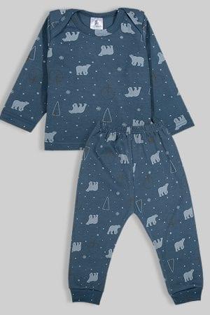 חליפת שינה שרוול ארוך פלנל - דובים - כחול (3 חודשים - 2.5 שנים)