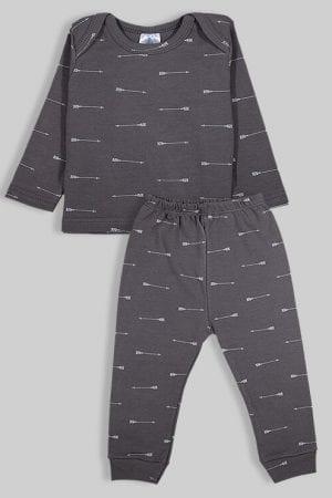 חליפת שינה שרוול ארוך פלנל - חצים - אפור (3 חודשים - 2.5 שנים)
