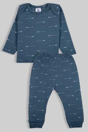 חליפת שינה שרוול ארוך פלנל - חצים - כחול (3 חודשים - 2.5 שנים)