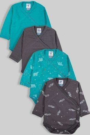 רביעיית בגדי גוף מעטפת פלנל - דובים נוצות חלק - ירוק אפור (0-3)