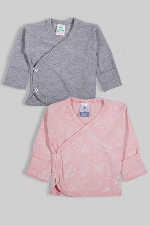זוג חולצות מעטפת עם כפפה פלנל - חלק פרחים (0-3 חודשים)