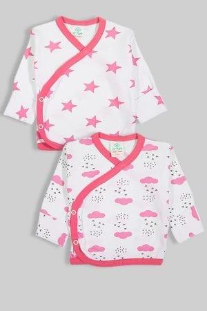 זוג חולצות מעטפת עם כפפה פלנל - עננים וכוכבים (0-3 חודשים)