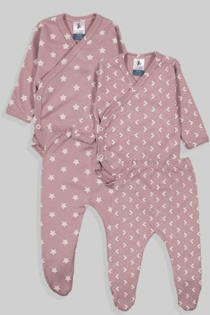 שני סטים בגדי גוף מעטפת ורגליות פלנל - כוכבים משולשים - סגול (0-3 חודשים)