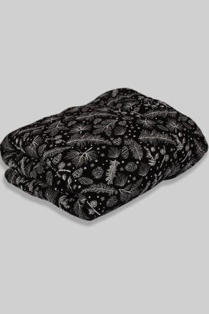 שמיכת מילוי לתינוקות הדפס פרחים - שחור