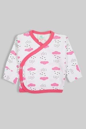 חולצת מעטפת עם כפפה פלנל -  עננים ורודים (0-3 חודשים)