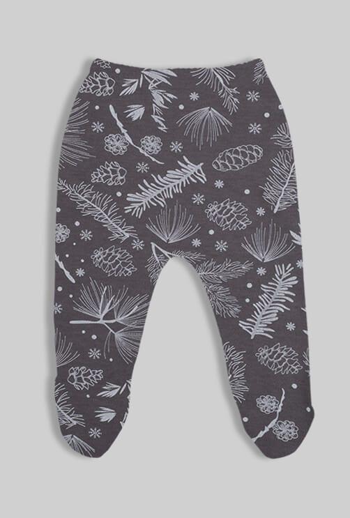 רביעיית רגליות פלנל - פרחים אוהלים - ורוד אפור שחור (0-3 חודשים)
