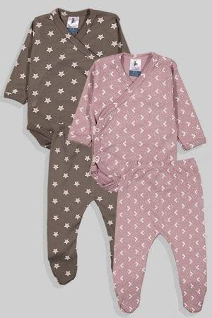 שני סטים בגדי גוף ורגליות פלנל - משולשים וכוכבים - אפור וסגול (0 - 3 חודשים)