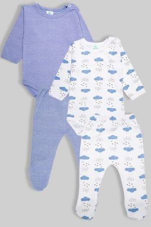 שני סטים בגדי גוף ורגליות פלנל - עננים וחלק תכלת (3 חודשים - 1.5 שנים)