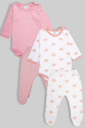 שני סטים בגדי גוף ורגליות פלנל - כוכבים ורוד עתיק (3 חודשים -1.5 שנים)