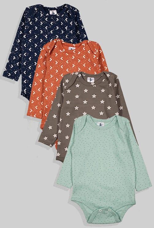 רביעיית בגדי גוף פלנל - נקודות משולשים וכוכבים (0-24 חודשים)
