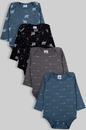 רביעיית בגדי גוף פלנל - דובים וחצים - אפור כחול שחור (0-2.5 שנים)