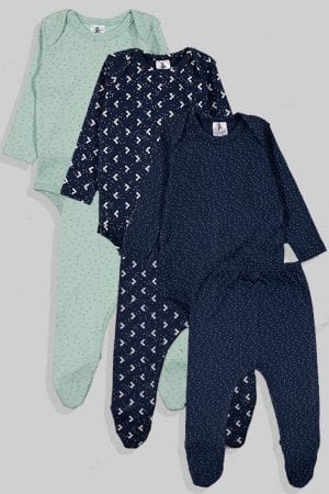 שלישיית סטים בגדי גוף ורגליות פלנל - משולשים ונקודות - כחול ירוק (0 חודשים - 24 חודשים)