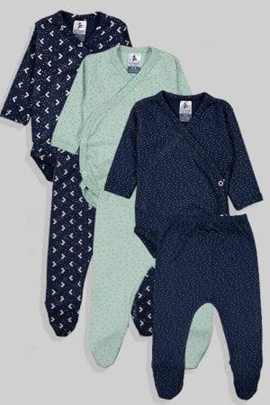 שלישיית סטים בגדי גוף מעטפת ורגליות פלנל - כוכבים נקודות - כחול ירוק (0 - 3 חודשים)