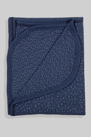 שמיכת קיץ טריקו דו צדדית לעגלה/מיטה - כחול נקודות