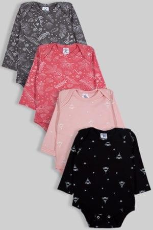 רביעיית בגדי גוף פלנל - פרחים אוהלים - שחור ורוד (0-2.5 שנים)