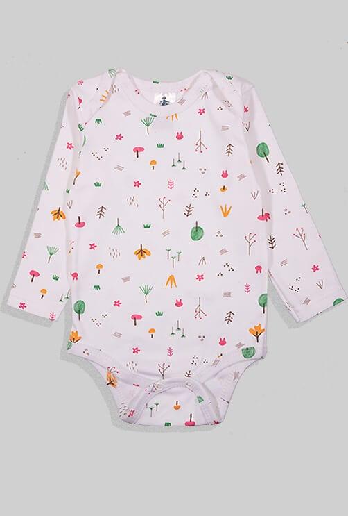 רביעיית בגדי גוף פלנל - נקודות מנומר יער וכוכבים (0-24 חודשים)