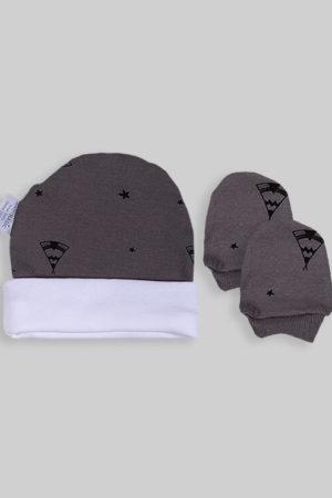 כפפות וכובע לתינוק - בסיס אפור אוהל