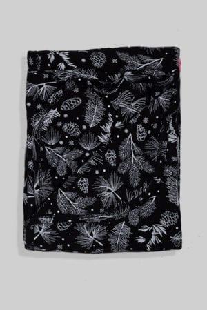 שמיכת קיץ טריקו דו צדדית לעגלה/מיטה - פרחים בסיס שחור