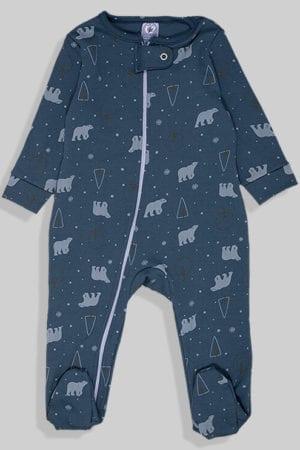 אוברול פלנל לתינוקות עם רוכסן - כחול דובים (0 - 1.5 שנים)