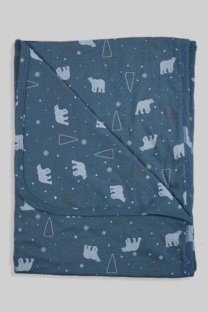 שמיכת קיץ טריקו דו צדדית לעגלה/מיטה - דובים כחולים