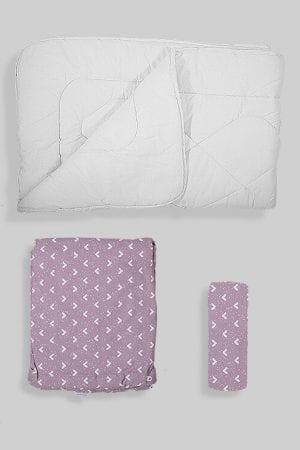 שמיכת פוך לתינוק + ציפה + סדין - בסיס סגול משולשים