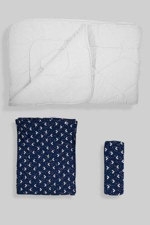 שמיכת פוך לתינוק +ציפה+סדין - בסיס כחול משולשים