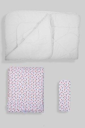 שמיכת פוך לתינוק +ציפה+סדין - בסיס לבן נקודות
