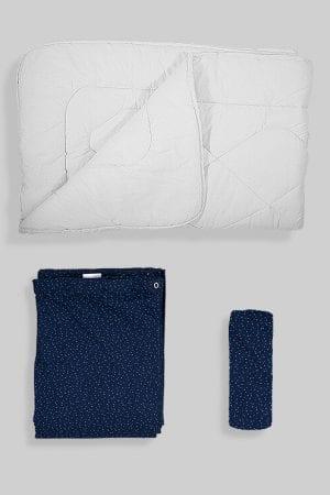 שמיכת פוך לתינוק +ציפה+סדין - כחול נקודות
