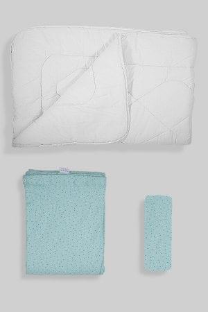 שמיכת פוך לתינוק +ציפה+סדין - בסיס ירוק נקודות