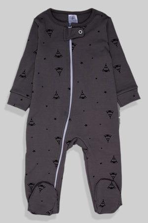 אוברול פלנל לתינוקות עם רוכסן - אפור אוהלים (0 - 2 שנים)