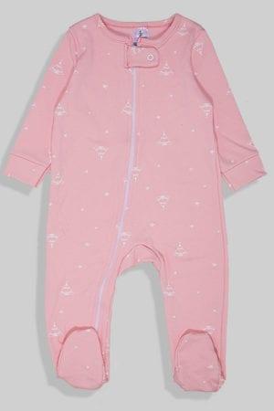 אוברול פלנל לתינוקות עם רוכסן - ורוד אוהלים (0 - 2 שנים)