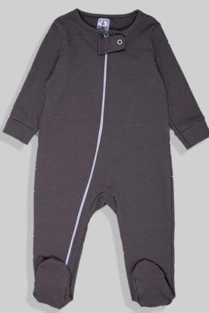 אוברול פלנל לתינוקות עם רוכסן - אפור חלק (0 - 2 שנים)