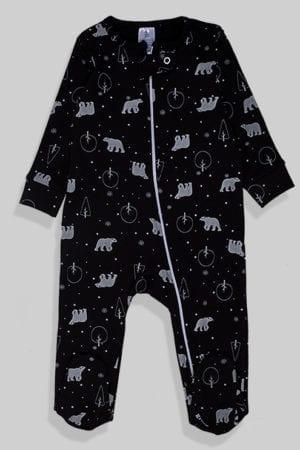 אוברול פלנל לתינוקות עם רוכסן - שחור דובים (0 - 1.5 שנים)
