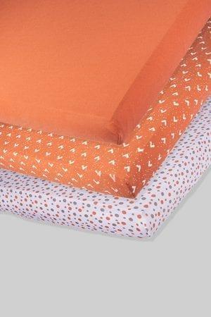 שלישיית סדינים - משולשים נקודות וחלק - מיטת תינוק/מיטת מעבר | עריסה