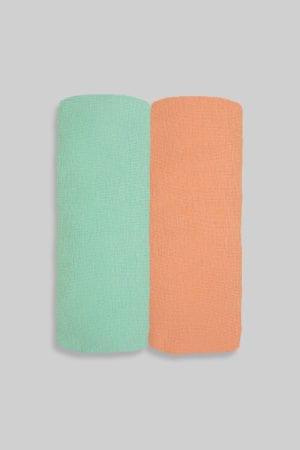 זוג סדינים חלק כתום ירוק - מיטת תינוק/מיטת מעבר | עריסה | עגלה