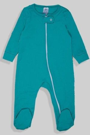 אוברול פלנל לתינוקות עם רוכסן - ירוק חלק (0 - 2 שנים)