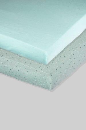זוג סדינים ירוקים - נקודות וחלק - מיטת תינוק/מיטת מעבר | עריסה