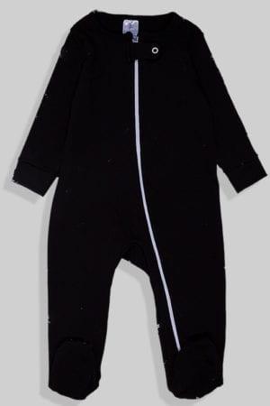 אוברול פלנל לתינוקות עם רוכסן - שחור חלק (0 - 2 שנים)