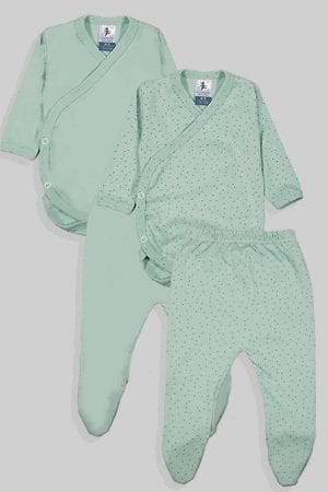 שני סטים בגדי גוף ורגליות לתינוק מעטפת טריקו - חלק נקודות - ירוק (0-3 חודשים)