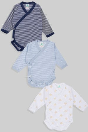 שלישיית בגדי גוף מעטפת טריקו - פסים כוכבים - צהוב תכלת כחול (0-3 חודשים)