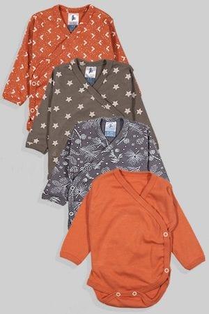 רביעיית בגדי גוף לתינוק מעטפת טריקו - משולשים כוכבים פרחים חלק (0-3 חודשים)