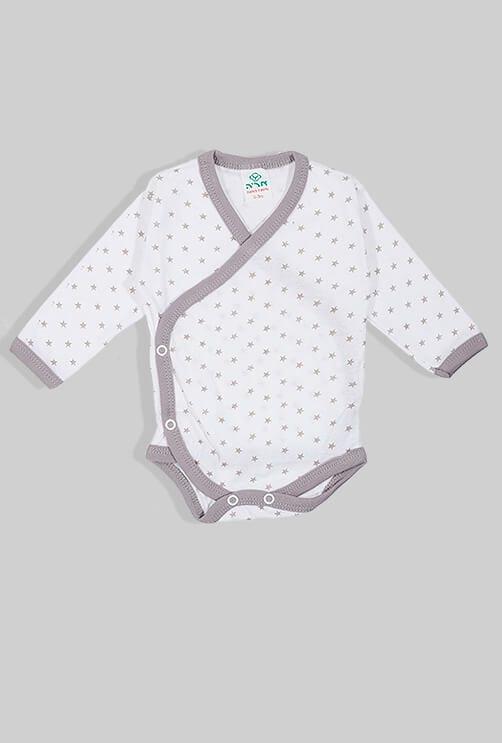 שלישיית בגדי גוף מעטפת פלנל - כוכבים - אפור (0-3 חודשים)