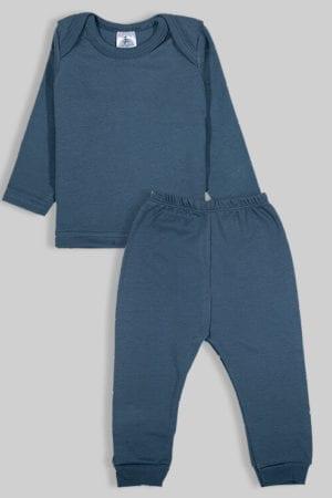 חליפת שינה שרוול ארוך פלנל - חלק - כחול (3 חודשים - 2.5 שנים)