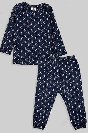 חליפת שינה שרוול ארוך פלנל - משולשים - כחול (3 חודשים - 2.5 שנים)