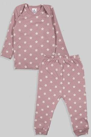 חליפת שינה שרוול ארוך פלנל - כוכבים - סגול (3 חודשים - 2.5 שנים)