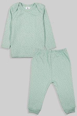 חליפת שינה שרוול ארוך פלנל - נקודות - ירוק (3 חודשים - 2.5 שנים)