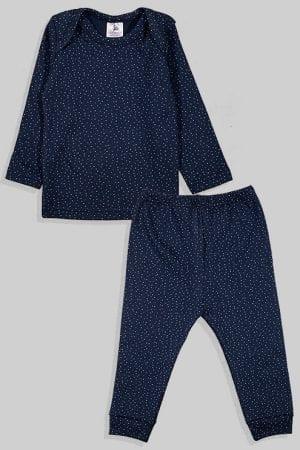 חליפת שינה שרוול ארוך פלנל - נקודות - כחול (3 חודשים - 2.5 שנים)