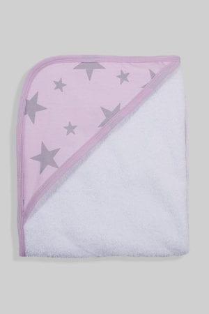 מגבת לתינוק עם כובע ורוד כוכבים אפורים