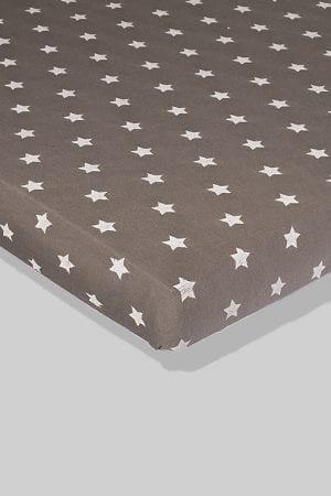 סדין לתינוק - אפור כוכבים - מיטת תינוק/מיטת מעבר | עריסה