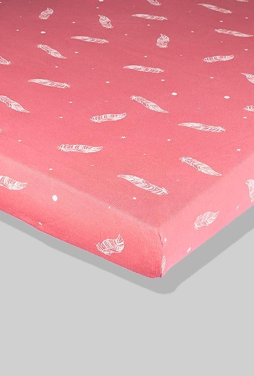 סדין ורוד נוצות - מיטת תינוק/מיטת מעבר